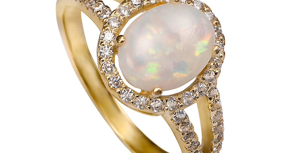 טבעת אירוסין אופל מפוארת ויהלומים