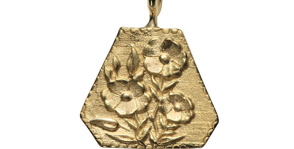 הפרח בגני תליון זהב 14 קראט