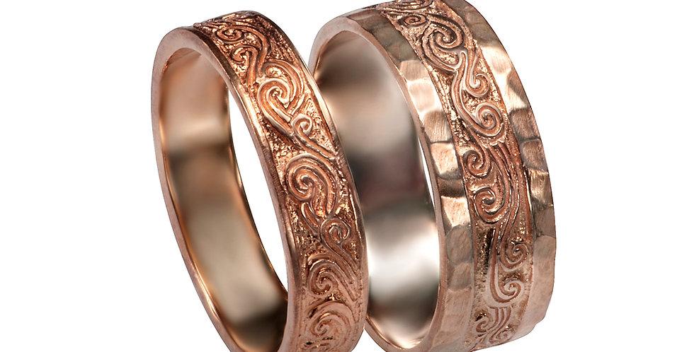 סט טבעות נישואין זהב אדום עתיק יומין