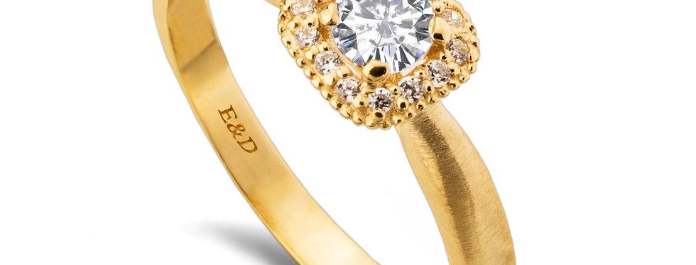 טבעת הילת יהלומים מרובעת מאט