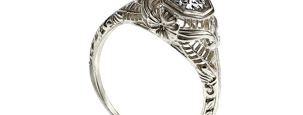 טבעת אירוסין ויקטוריאנית יהלום מרכזי זהב לבן