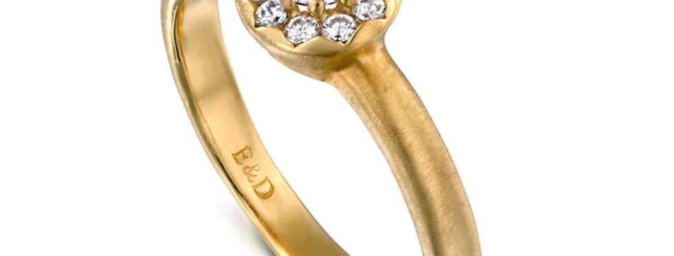 טבעת אירוסין הילת יהלומים וינטאג' קלאסית