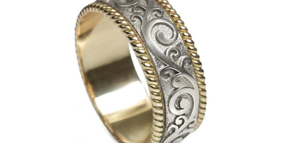 טבעת נישואין קשמיר שילובי זהב