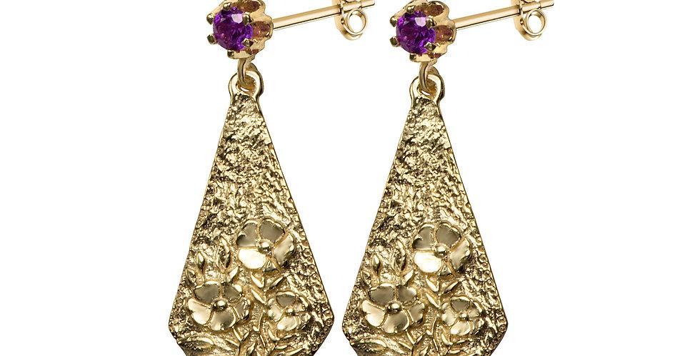 סצינה פרחונים עגילים מצופים זהב ואבן אמטיסט