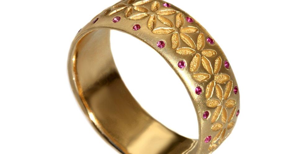 טבעת זהב ורובי ניצוצות החיים