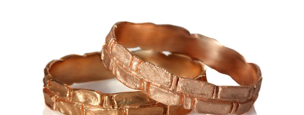 סט טבעות נישואין זהב אדום חומות ירושלים