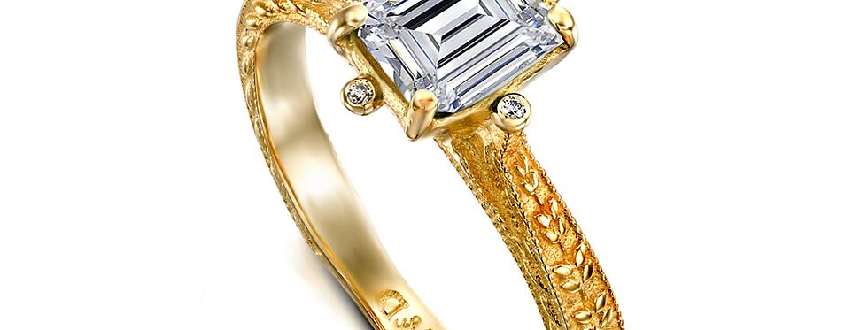 טבעת אירוסין יהלום מלבני 1.2 קראט