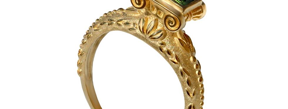 טבעת ממלכת יהודה זהב צהוב משובצת אמרלד