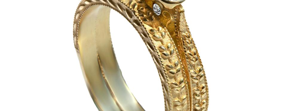 סט לכלה עיטורי עלים טבעת אירוסין אגם יהלום זהב צהוב