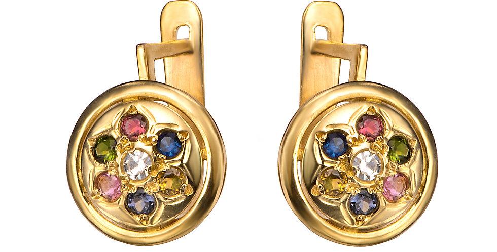 עגילי יהלום ואבני חן צבעוניות זהב 14 קראט