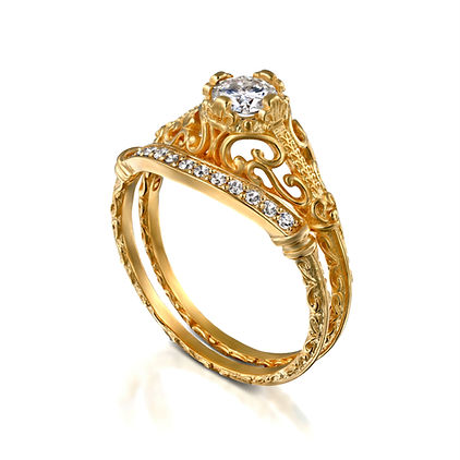 טבעת אירוסין מעוצבת משובצת יהלום חצי קראט וטבעת יהלומים צמודה תואמת עיצוב פיתולים אתני מקורי מבית דינר עיצוב תכשיטים