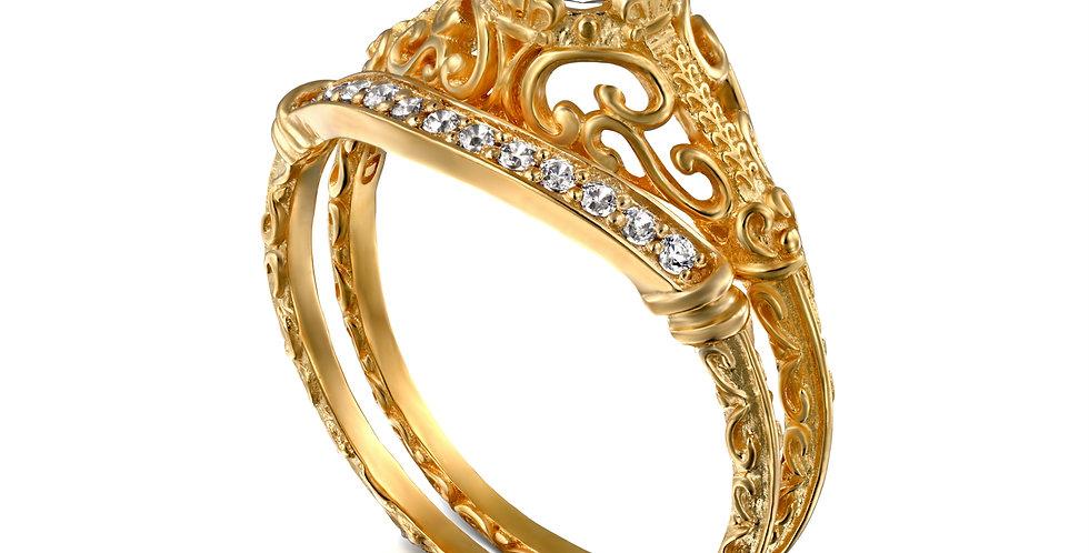 סט לכלה טבעת אירוסין ויקטוריה חצי קראט וטבעת יהלומים תואמת