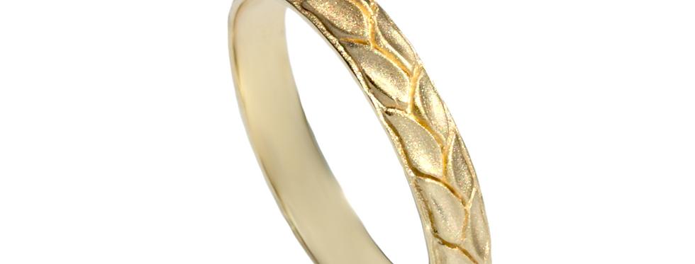 טבעת נישואין זר עלים גימור מאט