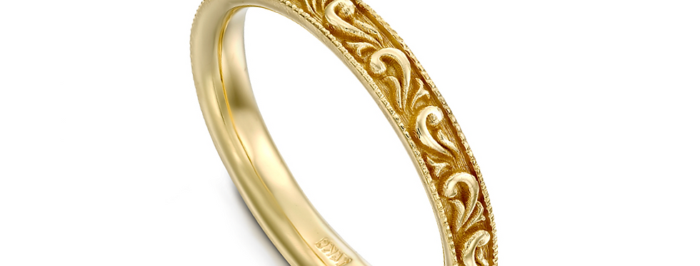 טבעת נישואין זהב צהוב פיתולי עלים מודגשים