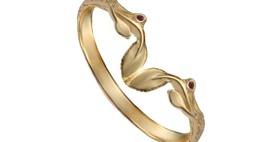 טבעת 'סיישל' עלים נושקים זהב 14 קראט