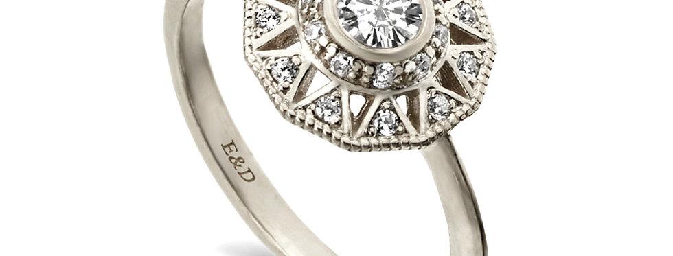 טבעת אירוסין הדרון זהב לבן