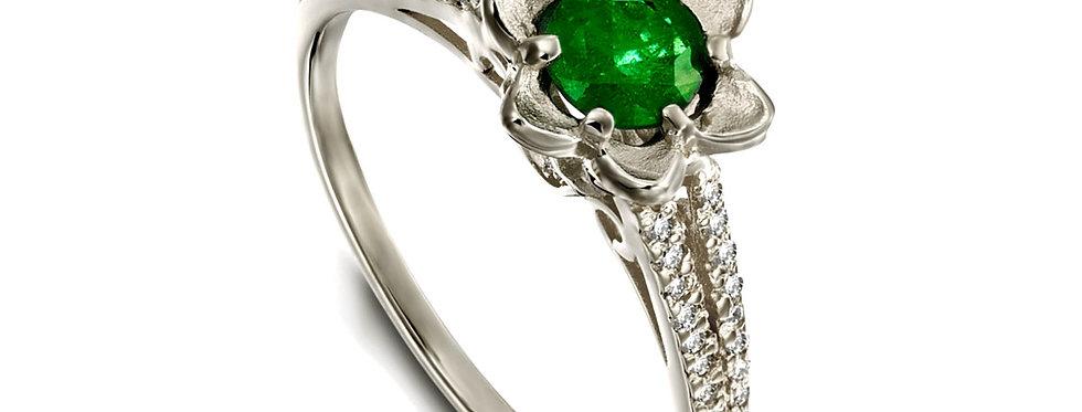 טבעת זהב לבן פרח האמרלד ויהלומים