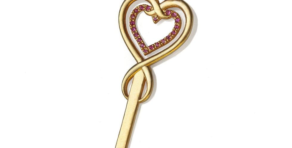 תליון זהב מפתח הלב