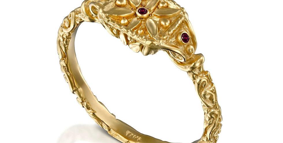 טבעת חותם זהב סודות קדומים 14 קראט