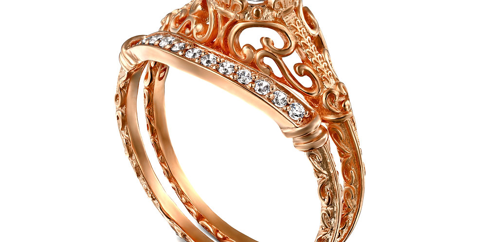 סט לכלה זהב אדום טבעת אירוסין ויקטוריה חצי קראט וטבעת יהלומים תואמת