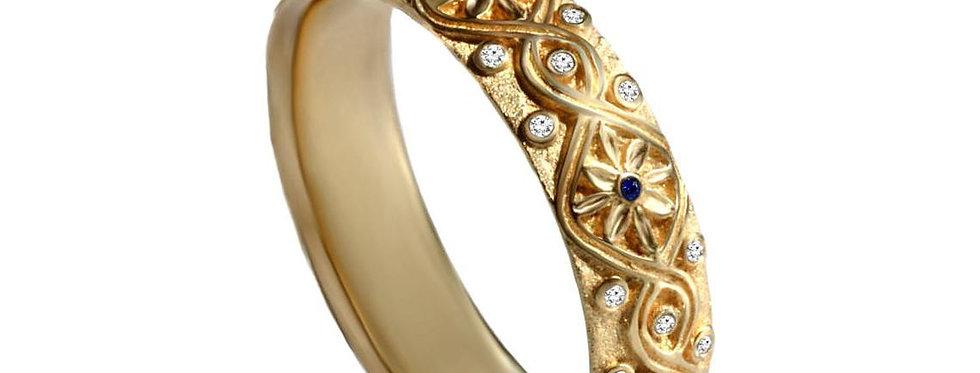 טבעת 'קשר אינסוף' זהב צהוב יהלומים וספירים