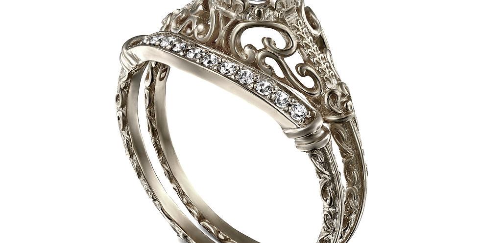 סט לכלה טבעת אירוסין ויקטוריה חצי קראט זהב לבן וטבעת יהלומים תואמת