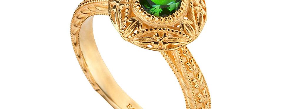 טבעת אמרלד ירוקה שיבוץ לוטוס גבוה
