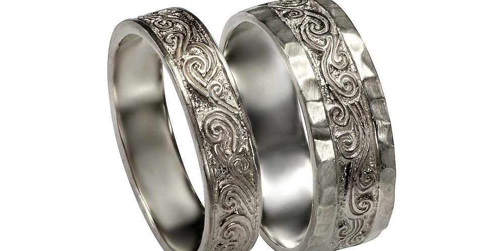 סט טבעות נישואין זהב לבן עתיק יומין