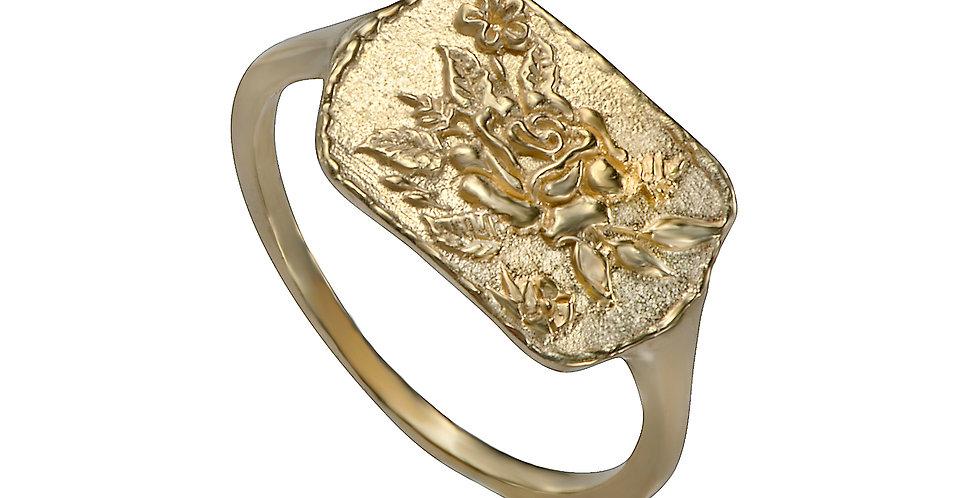 טבעת חותם זהב שושנה חרוטה