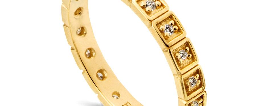 טבעת זהב נצח ריבועי יהלומים