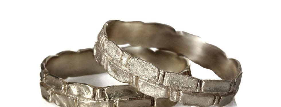 סט טבעות נישואין זהב לבן חומות ירושלים