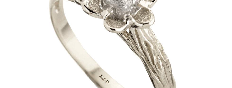 טבעת אירוסין יהלום גולמי אפרפר