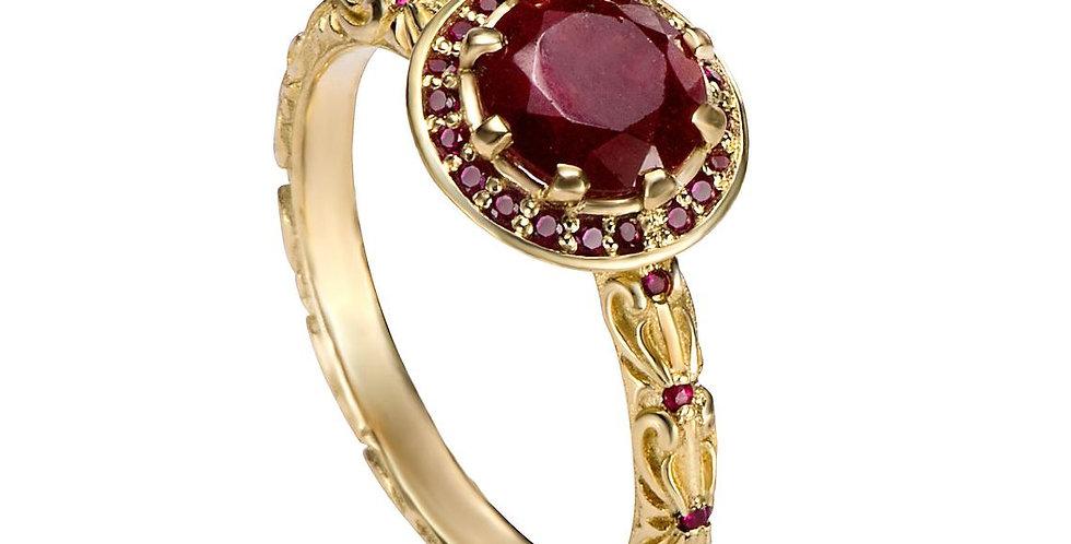 טבעת רובי שלהבת אדומה