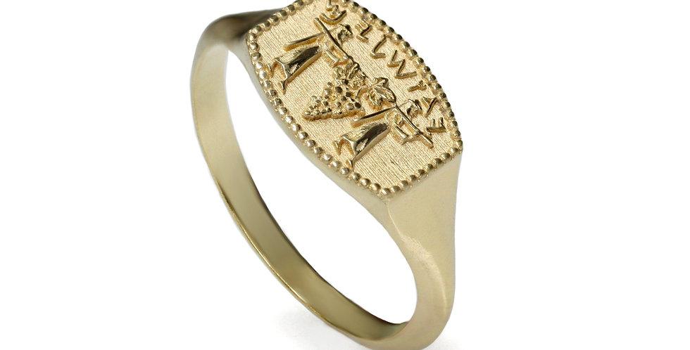 טבעת חותם ירושלים כתב עברי קדום זהב 14 קראט