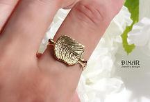 טבעת זהב עם חריטת טביעת אצבע