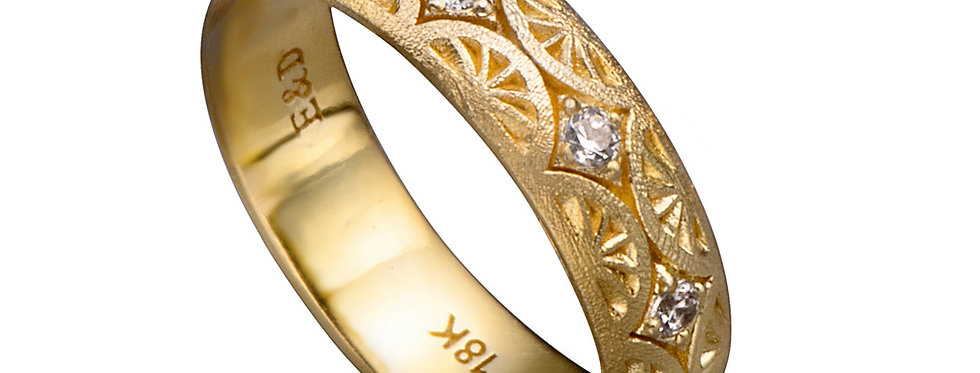 טבעת כתר הנילוס זהב ויהלומים