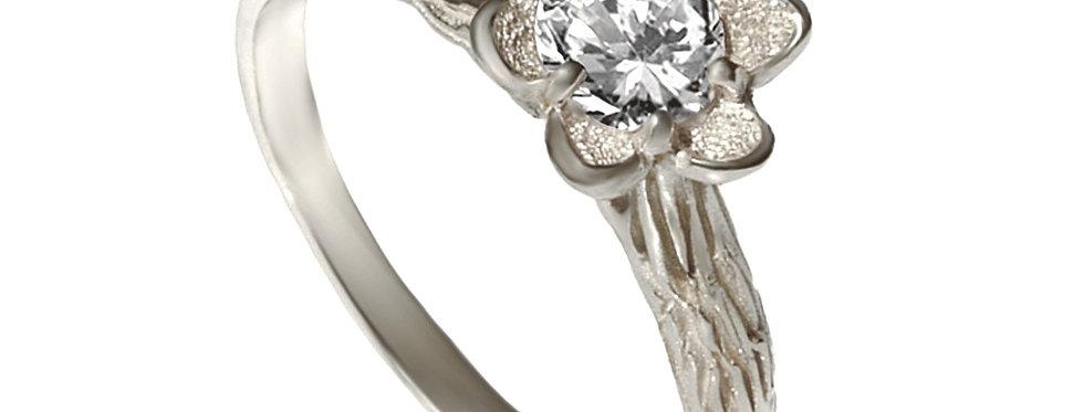 טבעת אירוסין יהלום עץ עתיק זהב לבן