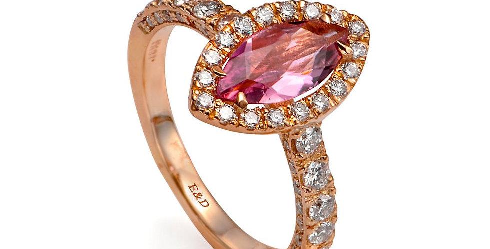 טבעת אירוסין זהב אדום יהלומים מרקיזת טורמלין ורודה