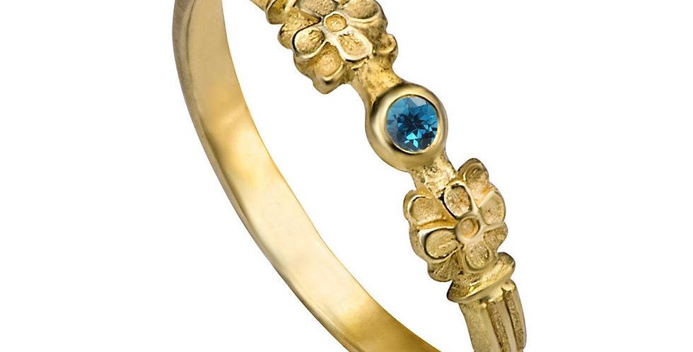 טבעת אירוסין טופז כחול מינימליזם פורח