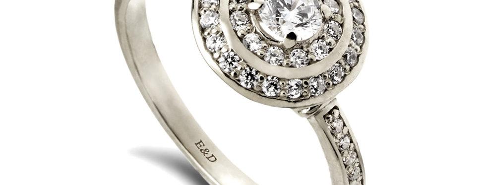 אורה הכפולה טבעת אירוסין זהב לבן