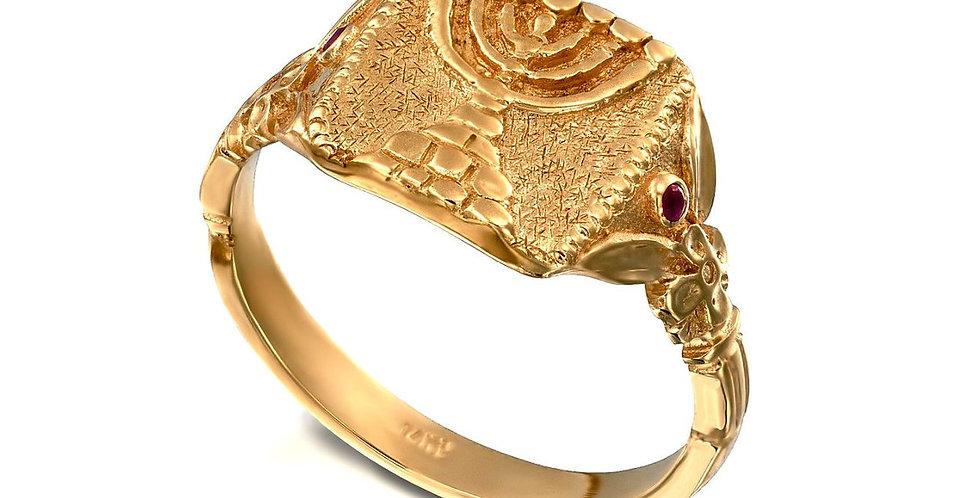 טבעת עתיקה חותם המנורה זהב 18 קראט