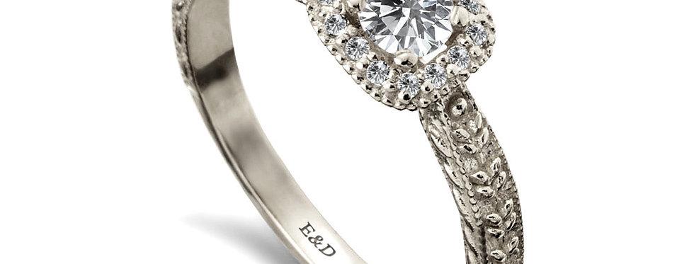 טבעת אירוסין הילה מרובעת צמדי עלים