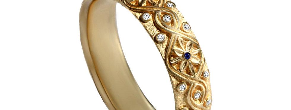 טבעת טיארה פרחונית ספיר ויהלומים