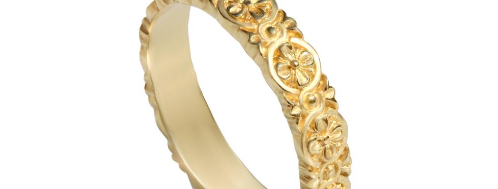 טבעת נישואין קשר קלטי פרחונית דקה
