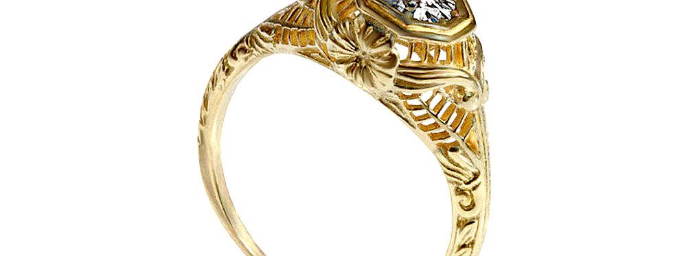 טבעת אירוסין ויקטוריאנית יהלום מרכזי