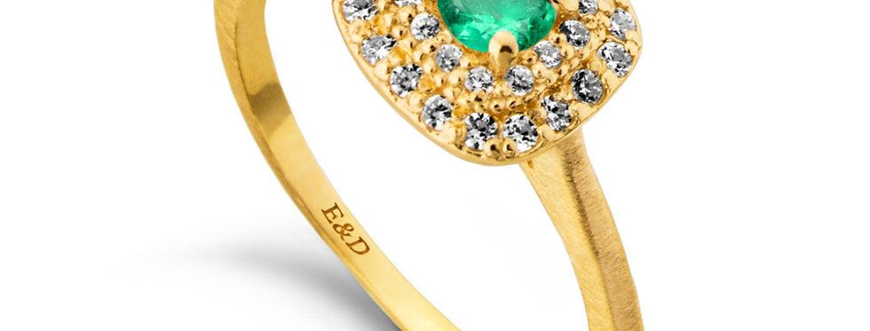 טבעת אירוסין אבן ברקת הילה מדורגת
