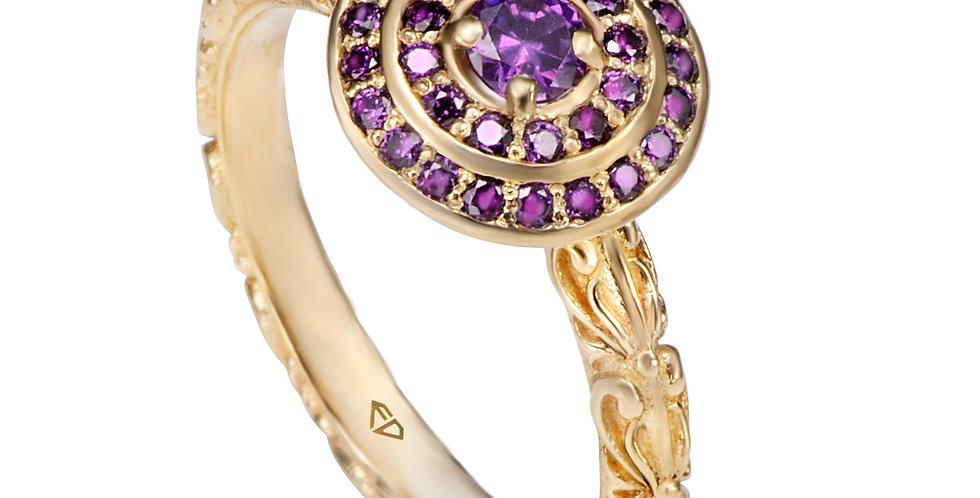 טבעת אירוסין הילות אמטיסט