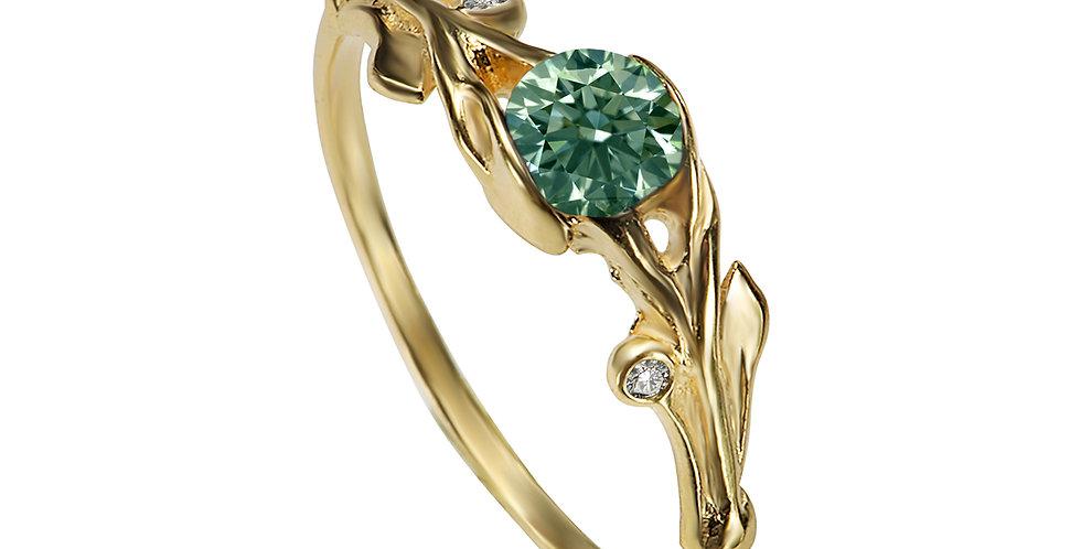 טבעת מרגנית אירוסין ספיר ירוק ויהלומים