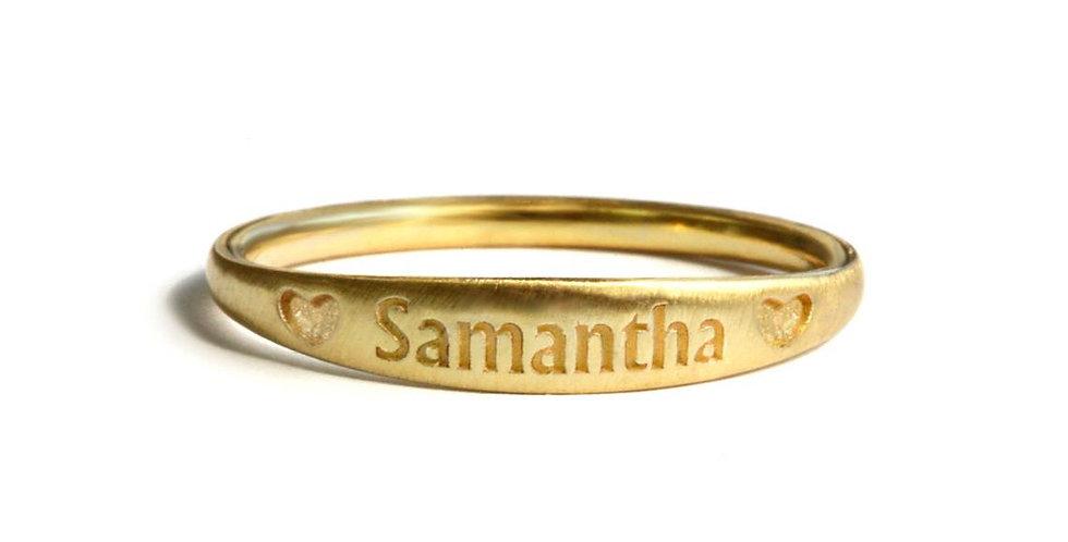 טבעת זהב לבבות סמנתה