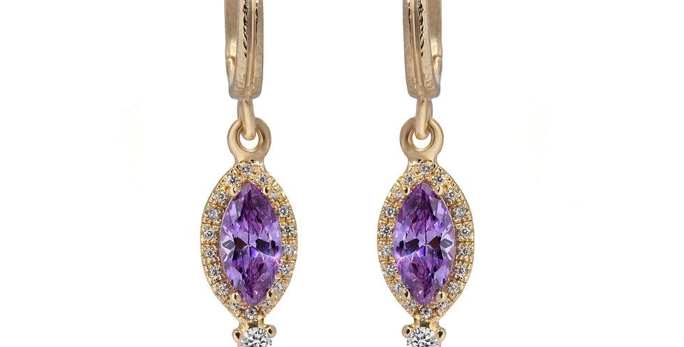עגילי פירנצה -יהלומים ומרקיזה אמטיסט